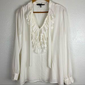 WHBM White Ruffle Front Tie neck Blouse